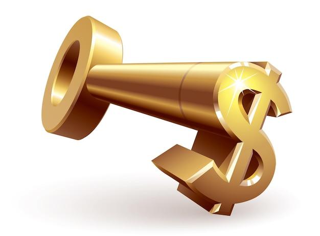 Clé en or avec signe dollar