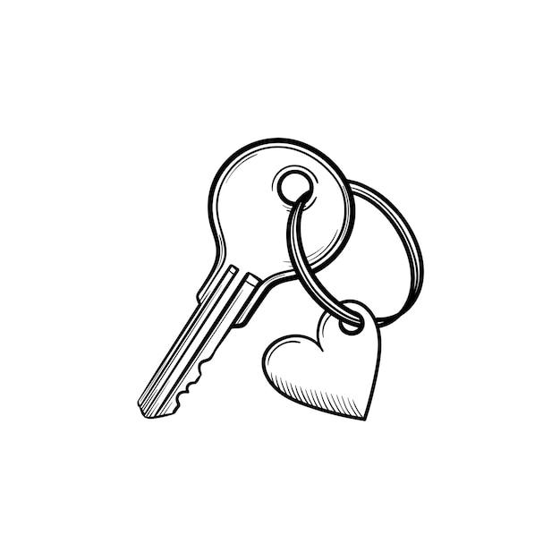 Clé de porte avec l'icône de doodle de contour dessiné à la main en forme de coeur. amour, romance, sécurité, concept de propriété