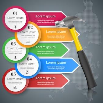 Clé, tournevis, icône de réparation business infographic