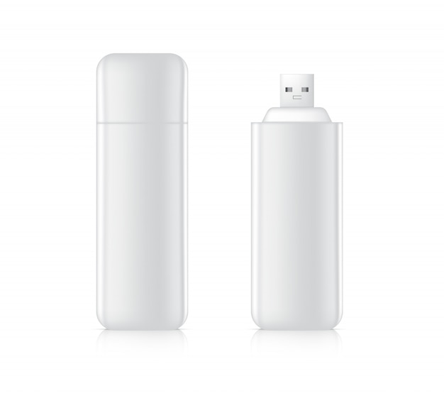 Clé usb 3d réaliste pour le stockage de mémoire portable sur fond blanc. conception de concept de modèle d'objet technologique.