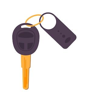 Clé de verrouillage de voiture de vecteur et porte-clés isolé sur fond blanc