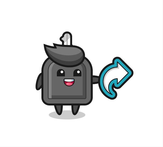 La clé de voiture mignonne tient le symbole de partage des médias sociaux, la conception de style mignon pour le t-shirt, l'autocollant, l'élément de logo