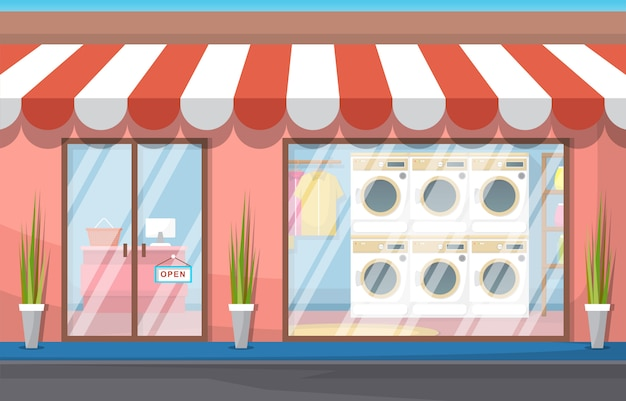 Clean care laundromat vêtements lave-linge service de blanchisserie