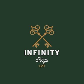 Clés infinity. modèle de signe, symbole ou logo vectoriel abstrait.