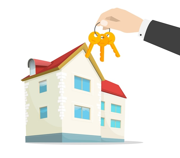 Clés de la nouvelle maison sur la main de l'agent immobilier près de l'appartement de la maison moderne. illustration de dessin animé plat