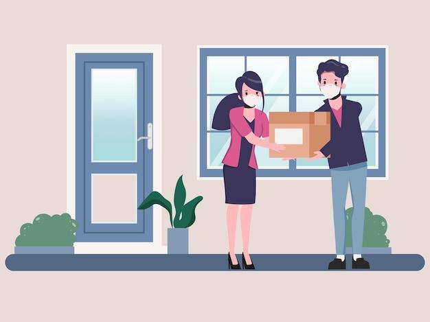 Client achetant en ligne livraison rapide pendant covid19 restez à la maison évitez de propager le coronavirus