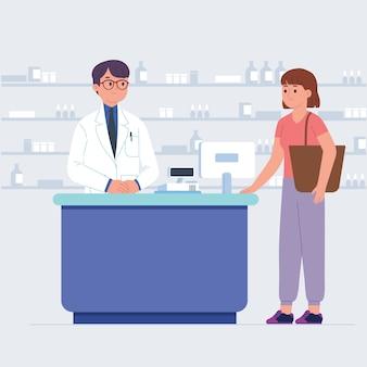 Le client achète des fournitures médicales à la pharmacie