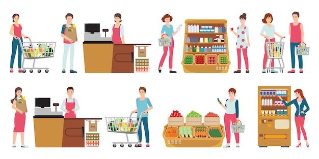 Client et caissier en supermarché isolé sur blanc.