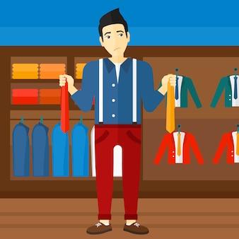 Client choisissant cravates