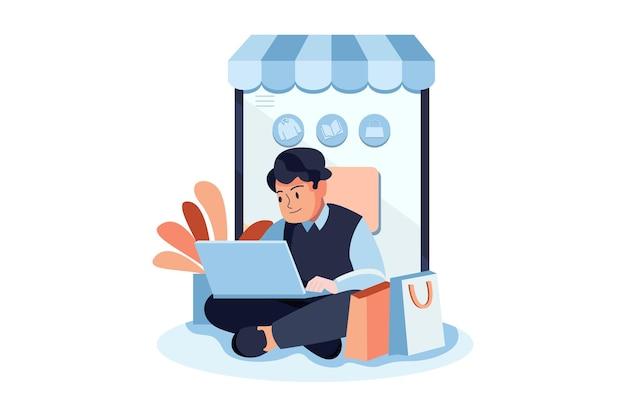 Le client donne une évaluation en ligne illustration