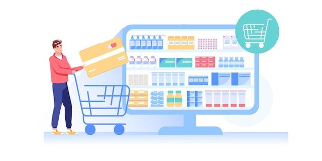 Client heureux de choisir, de commander des médicaments dans une pharmacie en ligne