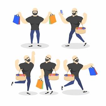 Client heureux avec des sacs.