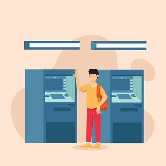 Client de l'homme debout près de la machine atm, style plat.