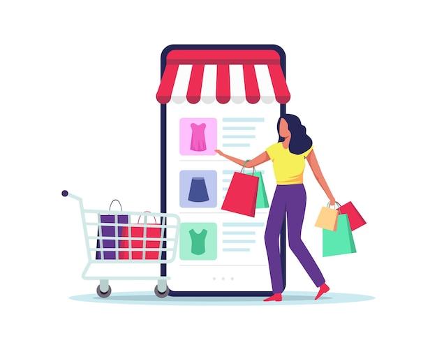 Le client sélectionne les marchandises à commander, shopping en ligne à l'aide d'un téléphone mobile. dans un style plat