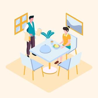 Client servi dans un restaurant isométrique