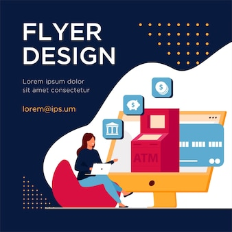 Client utilisant le service bancaire en ligne. modèle de flyer plat femme utilisant un ordinateur pour les paiements et les transactions