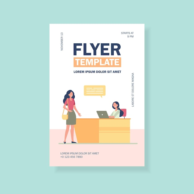 Cliente ou visiteur parlant avec un modèle de flyer réceptionniste