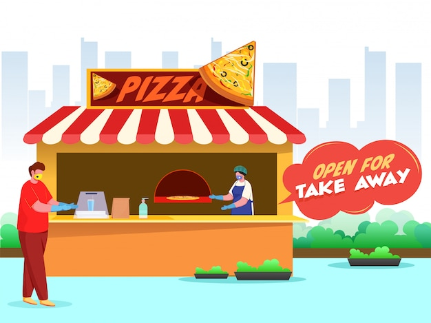 Les clients et les acheteurs portent les deux masques de protection dans la pizzeria avec un texte de message ouvert pour emporter pour éviter le coronavirus.