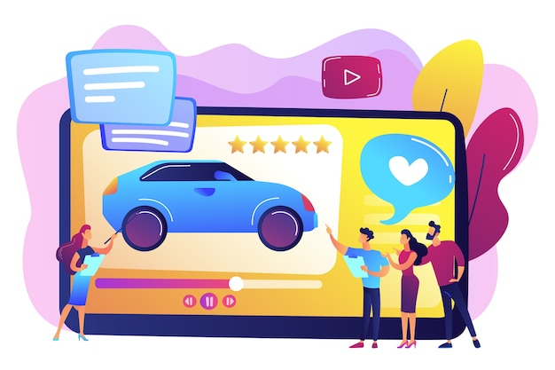 Les clients aiment la vidéo avec des experts et l'évaluation des voitures modernes avec des étoiles. vidéo d'examen de voiture, canal d'essai, concept de publicité vidéo automatique. illustration isolée violette vibrante lumineuse