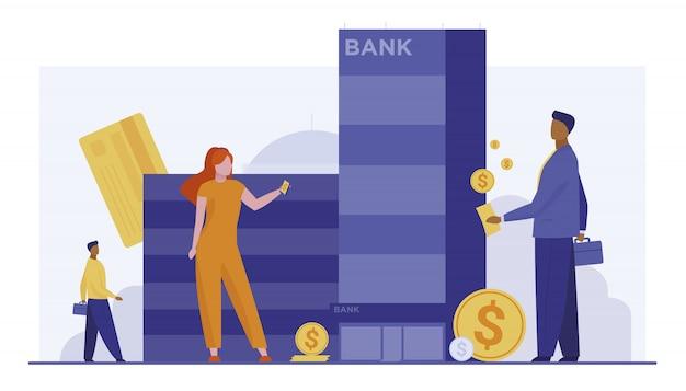 Clients, à, argent, debout, près, banque, bâtiment