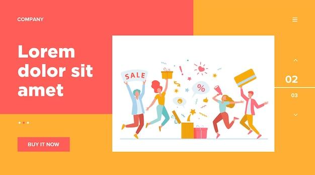 Clients célébrant la vente.