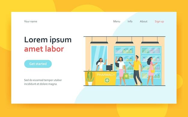 Clients et pharmacien dans la page de destination de la pharmacie