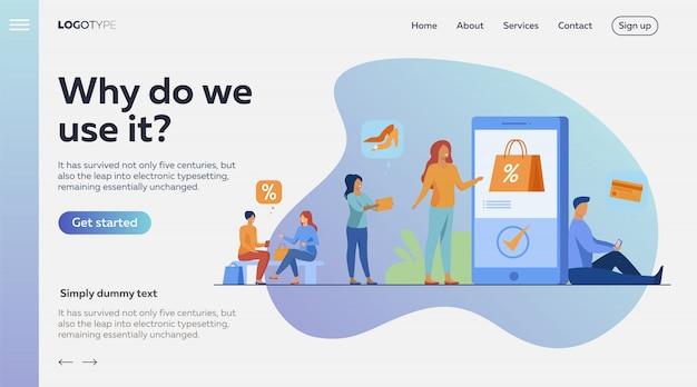 Clients avec smartphones faisant leurs achats en ligne