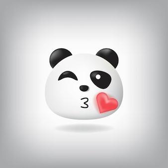 Cligner des yeux avec l'émoticône kissing face panda
