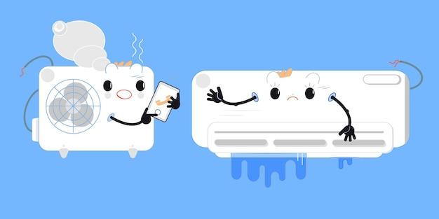 Climatiseur cassé installation ou réparation de climatiseur système split intégré style plat