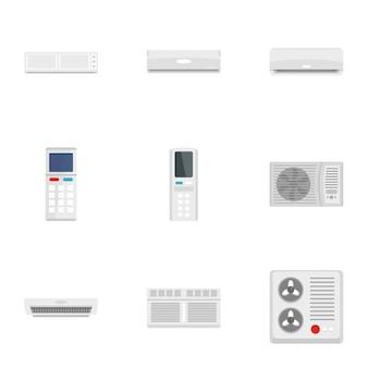 Climatiseur jeu d'icônes. ensemble plat de 9 icônes de climatiseur