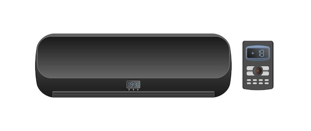 Climatiseur noir 3d. vecteur de climatiseur réaliste. isolé sur fond blanc.