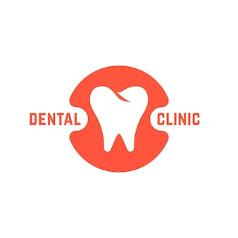 Clinique dentaire avec dent blanche. concept d'implant dentaire, marque ou application de bureau de dentiste, prothèses, récupération. isolé sur fond blanc. illustration vectorielle de style plat tendance marque moderne design