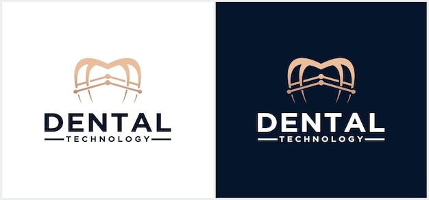Clinique dentaire logo accolades logo design dentaire style linéaire dentiste stomatologie docteur en médecine