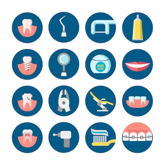 Clinique dentaire services icônes vectorielles plat