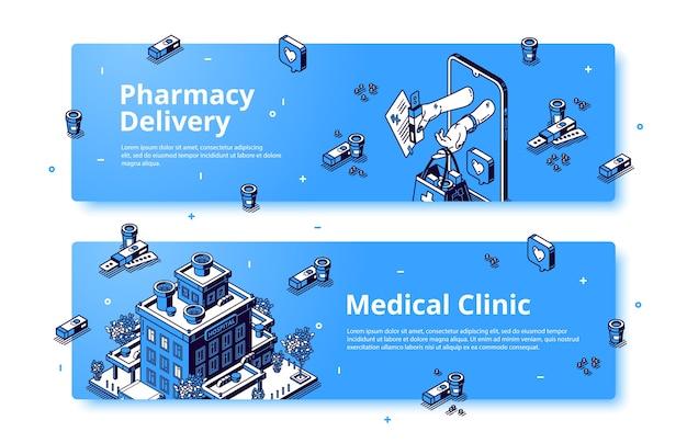 Clinique médicale, bannière isométrique de livraison de pharmacie.