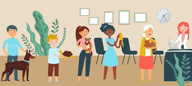 Clinique médicale vétérinaire de file d'attente, personnage masculin féminin stand illustration de réception de temps d'attente. les gens se soucient de l'animal domestique domestique thérapeutique.