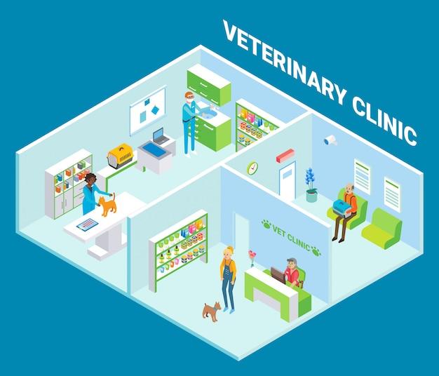 Clinique vétérinaire cutaway intérieur plat isométrique