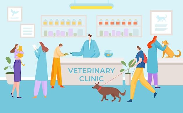 Clinique vétérinaire médicale salle d'attente du patient illustration plate de la santé des animaux domestiques