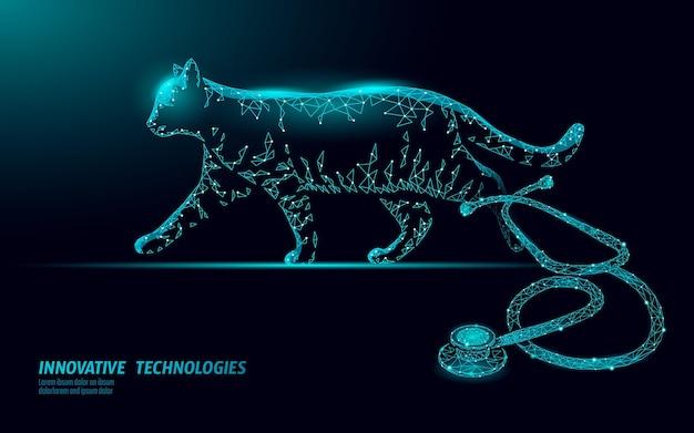 Clinique vétérinaire de silhouette de chat. analyse de l'infection par le virus du stéthoscope. aide médicale de soins vétérinaires. illustration en ligne du médecin vétérinaire de l'hôpital.