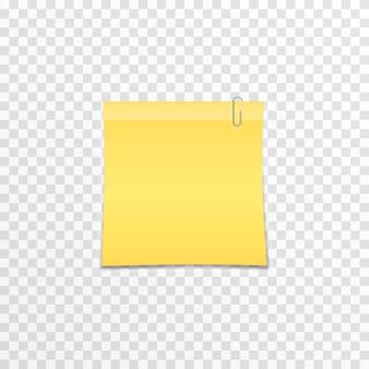 Clip en métal attaché au papier sur un fond transparent isolé notes de papier réalistes