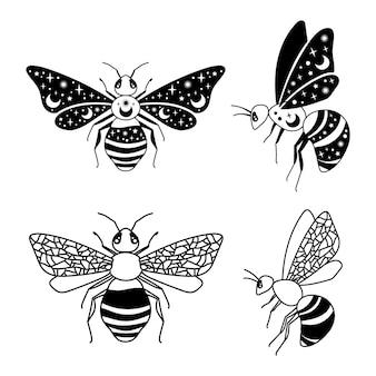 Clipart d'abeilles célestes éléments isolés noir et blanc silhouette insectes illustration vectorielle