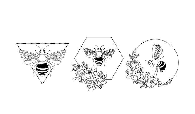 Clipart d'abeilles florales cadre d'abeilles éléments isolés sur des insectes blancs et des fleurs de pivoine graphique