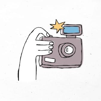 Clipart appareil photo dessiné à la main coloré