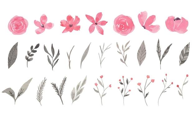 Clipart aquarelle fleur rose et grise
