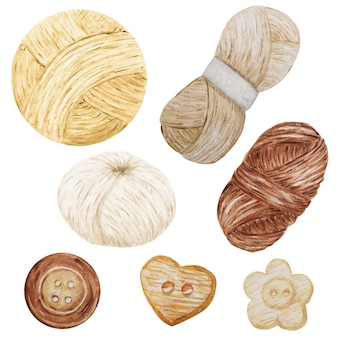 Clipart aquarelle passe-temps tricot et crochet illustration