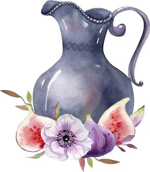 Clipart boho aquarelle, composition de nature morte d'automne, figues et fleurs