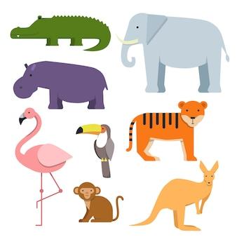 Clipart de dessin animé d'animaux sauvages.