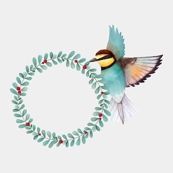 Clipart de dessin vectoriel de couronne botanique aquarelle