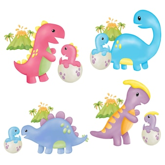 Clipart de dinosaure aquarelle fête des mères. peinture numérique