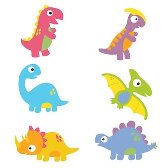 Clipart de dinosaure. collection de dinosaures de dessins animés.